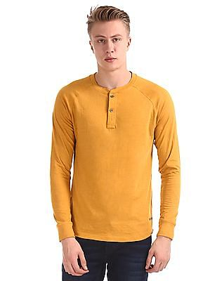 Cherokee Yellow Long Sleeve Solid Henley T-Shirt