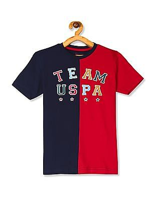 U.S. Polo Assn. Kids Red And Navy Boys Crew Neck Colour Block T-Shirt
