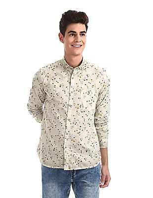 Ed Hardy Green Button Down Collar Floral Print Shirt