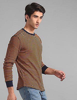 GAP Yellow Long Sleeve Waffle Stripe T-Shirt