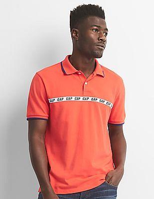 GAP Logo Sports Tape Pique Polo Shirt In Stretch