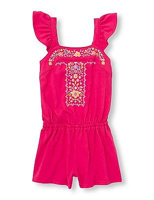 The Children's Place Toddler Girl Sleeveless Puff Print Embroidered Flutter Romper