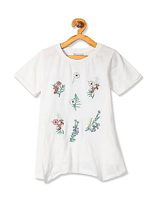 Cherokee Girls Round Neck Floral Embroidered Top
