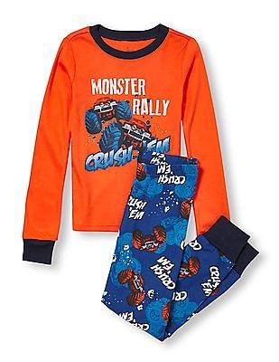 The Children's Place Boys Long Sleeve 'Monster Rally Crush 'Em' Graphic Top And 'Crush 'Em' Print Pants PJ Set