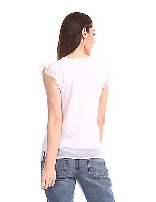 Elle Studio Round Neck Dobby Top