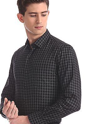 Arrow Newyork Grey Mitered Cuff Check Shirt