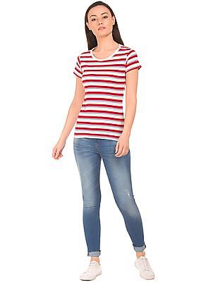 SUGR Striped Round Neck T-Shirt