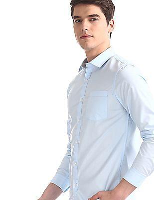 Excalibur Blue Regular Fit Solid Shirt