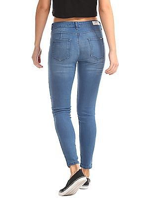 Flying Machine Women Super Skinny Stone Wash Jeans