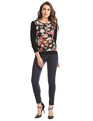 Elle Floral Print Sweater Top