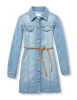 The Children's Place Girls Belted Denim Dress