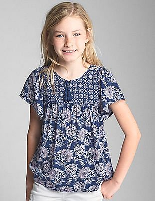 GAP Girls Tassel Mix-Print Top