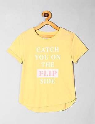 GAP Yellow Girls Flippy Sequin Graphic T-Shirt