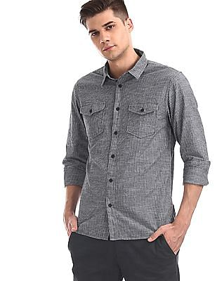 Cherokee Blue Rounded Cuff Stripe Shirt