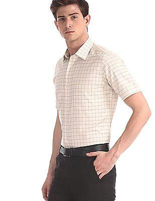 Arrow Beige Regular Fit Check Shirt