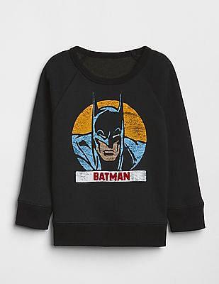 GAP Baby Black Round Neck Printed Sweatshirt