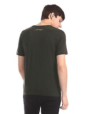 Ed Hardy Green Front Print Crew Neck T-Shirt