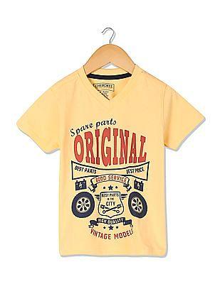 Cherokee V-Neck Printed T-Shirt