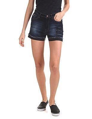 Flying Machine Women Skinny Fit Denim Shorts