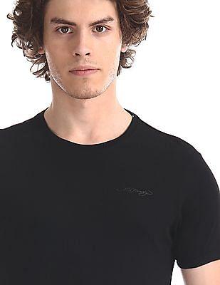 Ed Hardy Black Crew Neck Solid T-Shirt