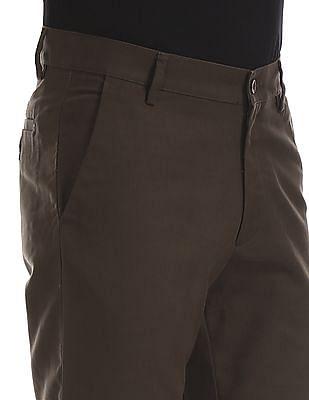 Arrow Sports Sports Regular Fit Flat Front Trousers