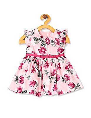 The Children's Place Pink Baby Girls Short Flutter Sleeve Floral Print Woven Dress With Bloomers