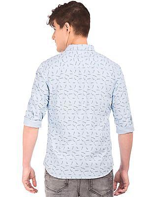 Flying Machine Printed Cutaway Collar Shirt