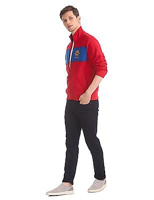 U.S. Polo Assn. Red High Neck Cut And Sew Panel Sweatshirt