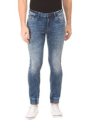 Flying Machine Mid Rise Whiskered Jogger Jeans
