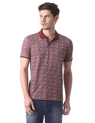 True Blue Slim Fit Paisley Print Polo Shirt