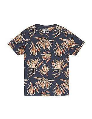 FM Boys Boys Tropical Print Slubbed T-Shirt