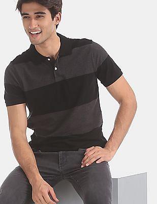 GAP Grey Short Sleeve Stripe Pique Polo Shirt In Stretch