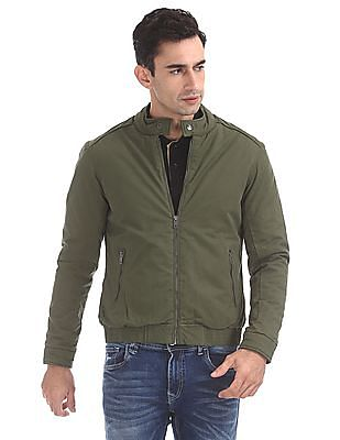 Flying Machine Stand Collar Twill Bomber Jacket