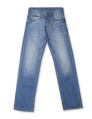 Buy Men Bruce Regular Straight Fit Stone Wash Jeans online at