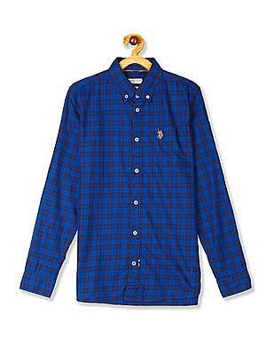U.S. Polo Assn. Kids Blue Boys Button Down Collar Check Shirt