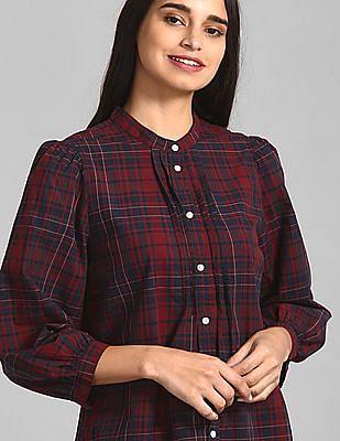 GAP Red Puff Sleeve Pintuck Shirt