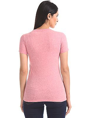 Aeropostale Contrast Embroidery Heathered T-Shirt