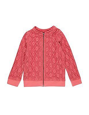 Cherokee Girls Zip Up Front Lace Jacket