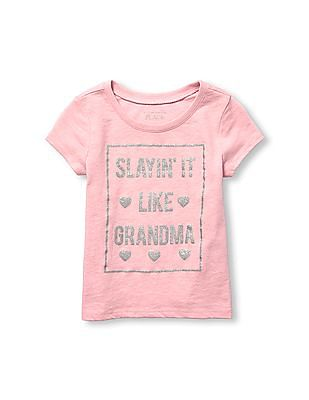 The Children's Place Toddler Girl Short Sleeve Glitter 'Slayin' It Like Grandma' Graphic Tee