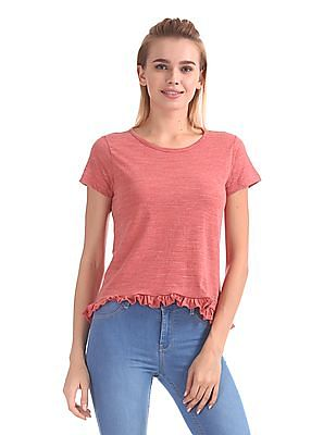 Flying Machine Women Heathered Ruffle Trim Top