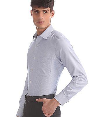 Arrow Blue Semi Cutaway Collar Patterned Shirt