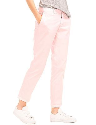 GAP Women Pink Twill Stripe Girlfriend Chino