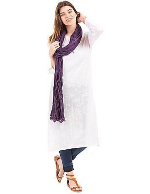 Karigari Purple Crinkled Cotton Dupatta