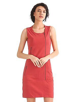 Elle Zipper Front Jersey Mini Dress