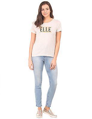 Elle Raglan Sleeve Heathered T-Shirt