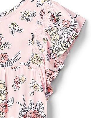 GAP Girls Pink Floral Pintuck Dress