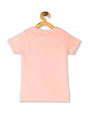 Cherokee Orange Girls Glitter Print Cotton T-Shirt