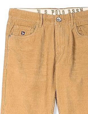 U.S. Polo Assn. Beige Slim Fit Corduroy Trousers