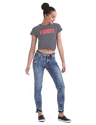 Flying Machine Women Super Skinny Fit Acid Wash Jeans