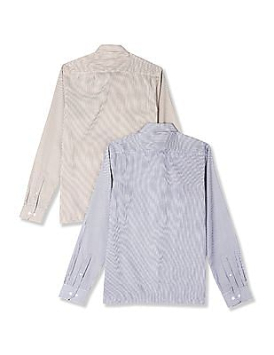 Excalibur Assorted Cutaway Collar Striped Shirt - Pack Of 2